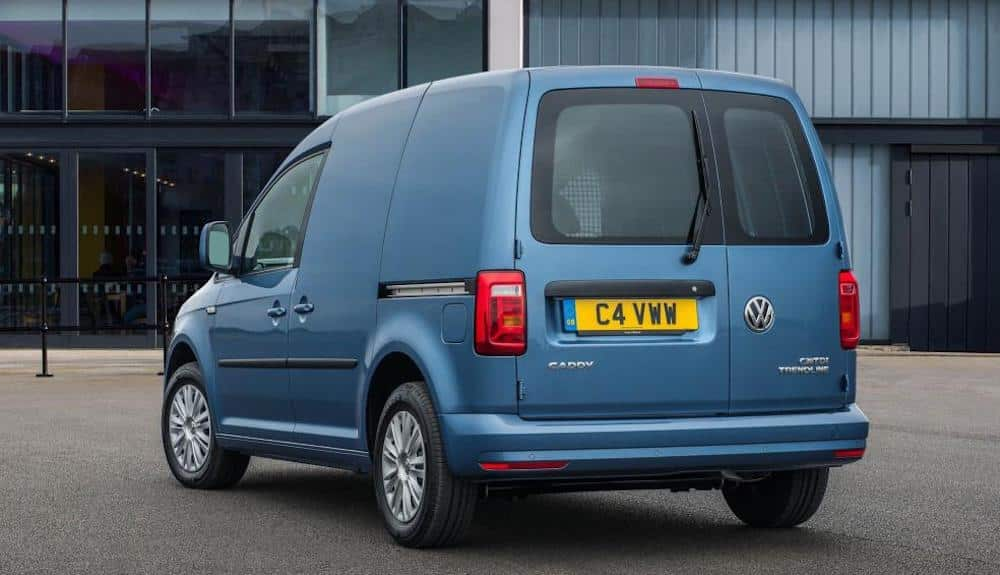 Rear view of blue Volkswagen Caddy