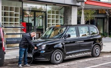 LEVC London taxi being plugged in | The Van Expert
