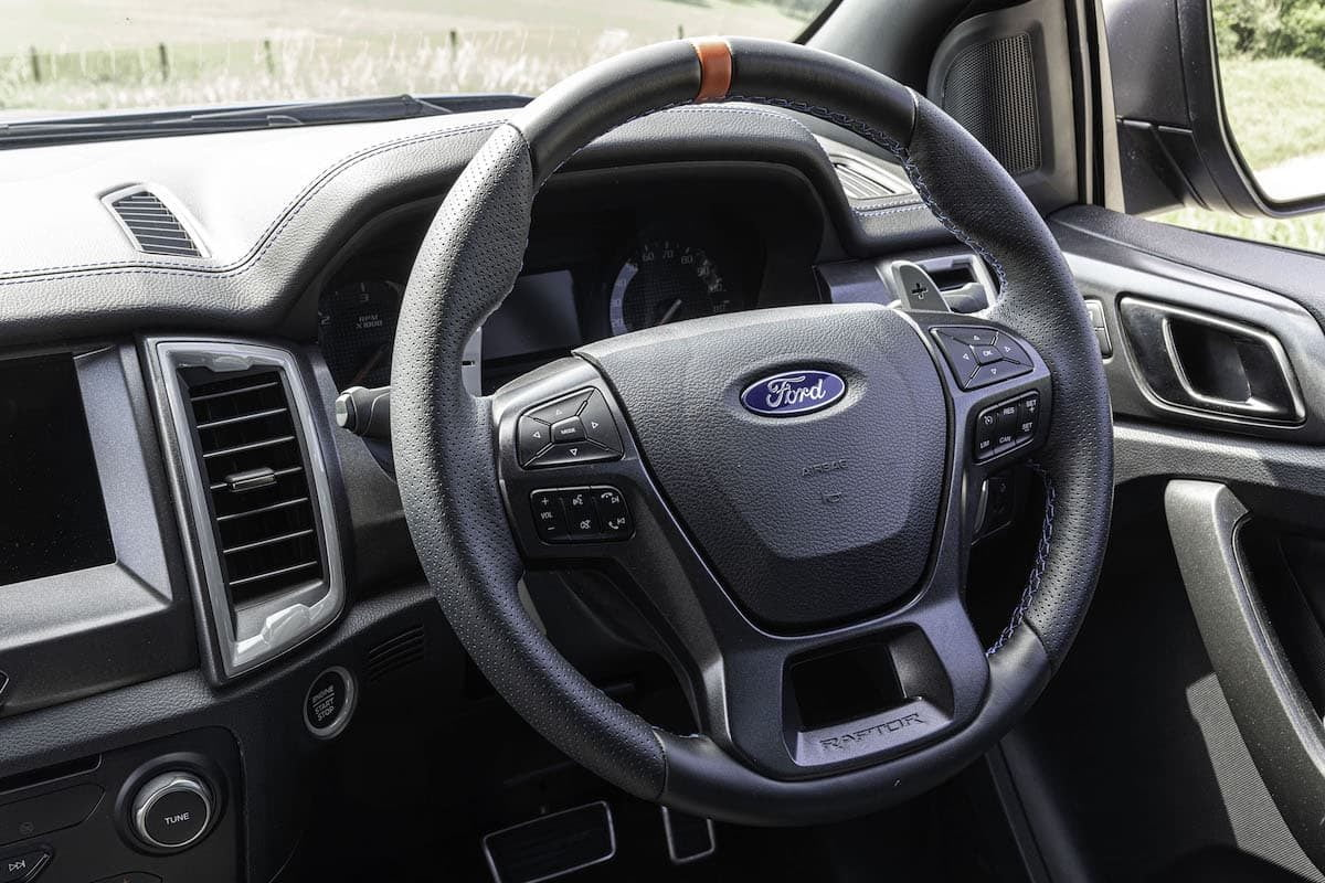 Ford Ranger Raptor review 2019 - steering wheel | The Van Expert