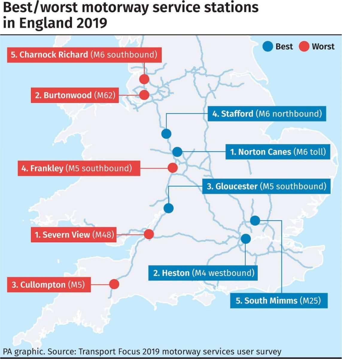 England's best and worst motorway services 2019